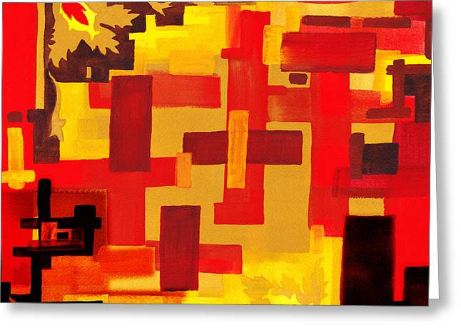 Soft Geometrics Abstract In Red And Yellow Impression V Greeting Card by Irina Sztukowski
