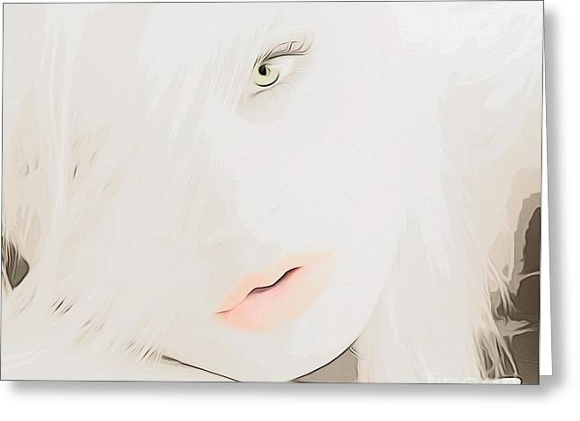 Demure Greeting Cards - Soft Green Eyes Greeting Card by Cheryl Young