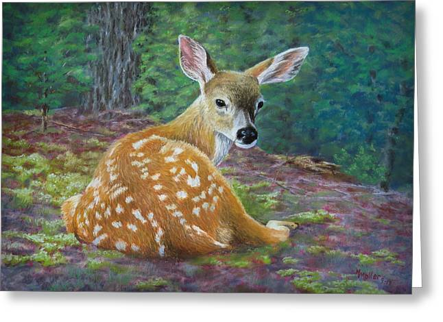 White Tail Pastels Greeting Cards - Soft Mossy Bed Greeting Card by Marcus Moller