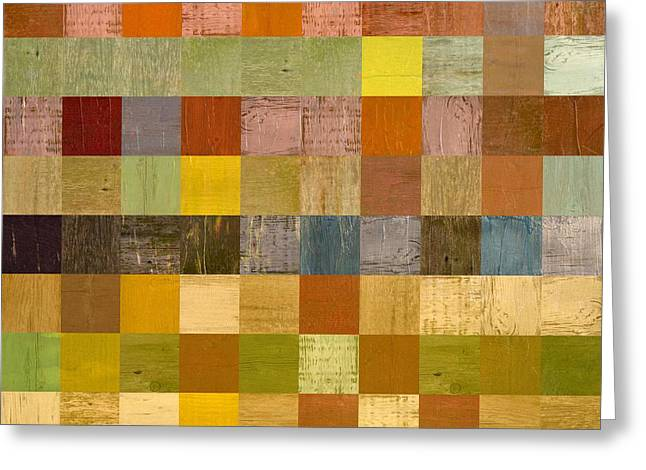 Geometric Style Greeting Cards - Soft Palette Rustic Wood Series ll Greeting Card by Michelle Calkins