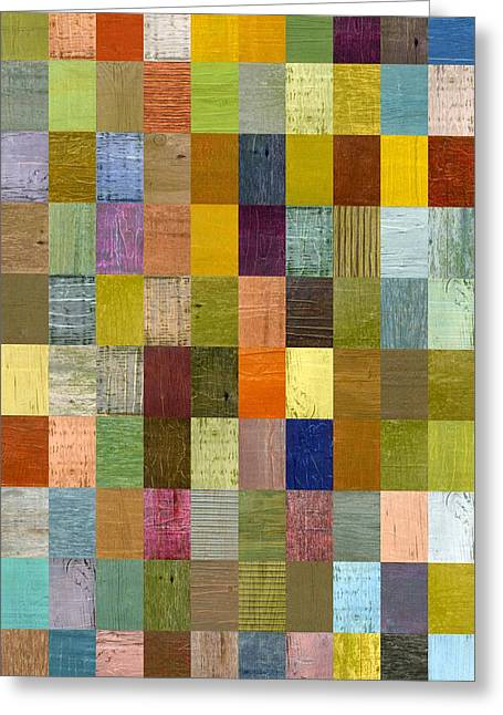 Geometric Style Greeting Cards - Soft Palette Rustic Wood Series With Stripes 2x3 Greeting Card by Michelle Calkins