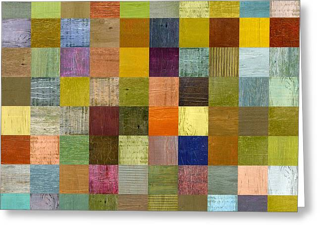 Geometric Style Greeting Cards - Soft Palette Rustic Wood Series With Stripes lll Greeting Card by Michelle Calkins