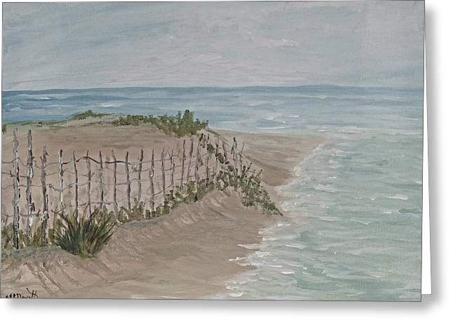 Sand Dunes Paintings Greeting Cards - Soft Sea Greeting Card by Barbara McDevitt