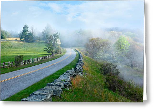 Dan Carmichael Greeting Cards - Soft Spring Morning on Blue Ridge Parkway I Greeting Card by Dan Carmichael