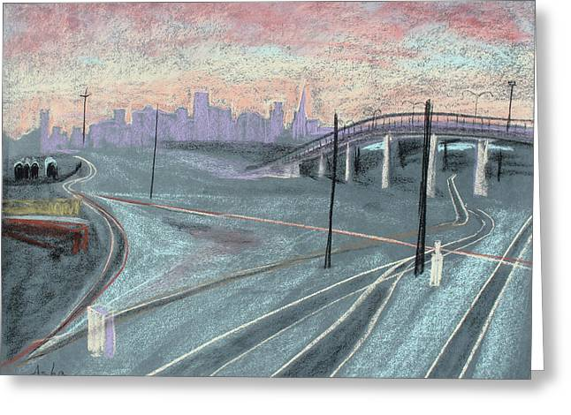 Asha Carolyn Young Drawing Pastels Greeting Cards - Soft Sunset Over San Francisco and Oakland Train Tracks Greeting Card by Asha Carolyn Young