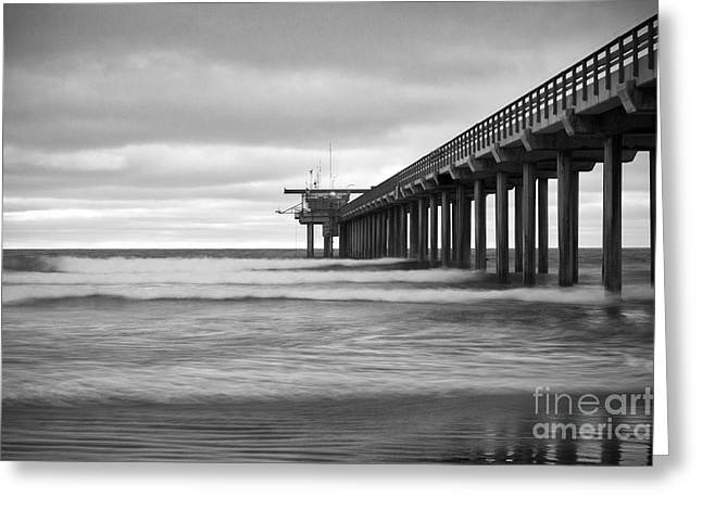California Ocean Photography Greeting Cards - Soft Waves at Scripps Pier Greeting Card by Ana V  Ramirez