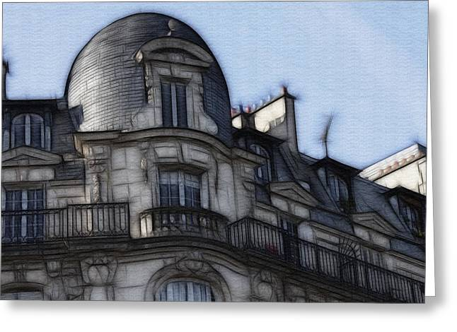 Engraving Greeting Cards - Softer side of Paris Architecture Greeting Card by Evie Carrier