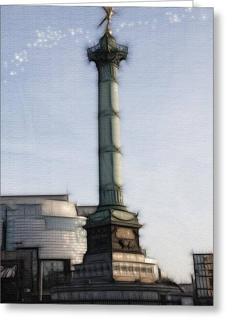 Bastille Greeting Cards - Softer side of the bastille paris france Greeting Card by Evie Carrier