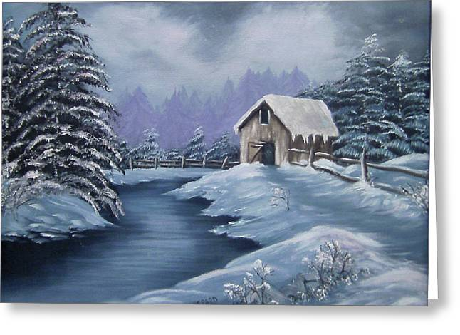 Shack Greeting Cards - Softest Snow Greeting Card by Cathy Shepard