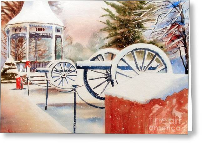 Snowwhite Greeting Cards - Softly Christmas Snow Greeting Card by Kip DeVore