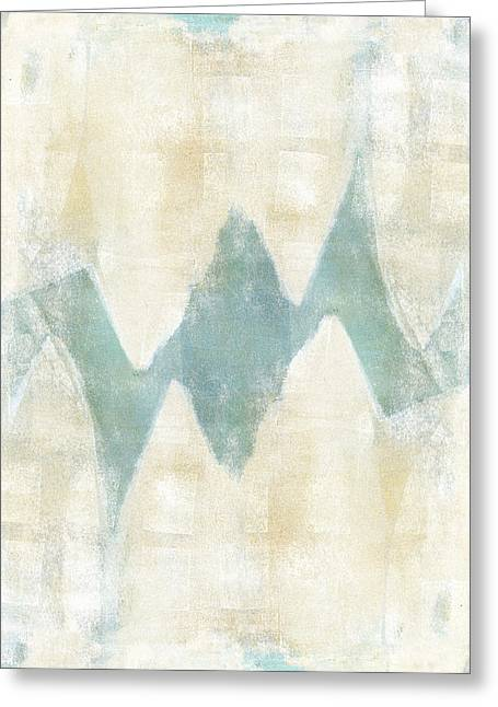 Monoprint Greeting Cards - Softly Green 1 Greeting Card by Carol Leigh