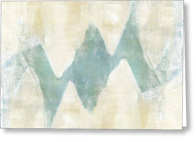 Monoprint Greeting Cards - Softly Green 1 Square Greeting Card by Carol Leigh