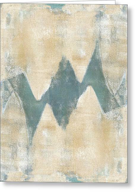 Monoprint Greeting Cards - Softly Green 2 Greeting Card by Carol Leigh
