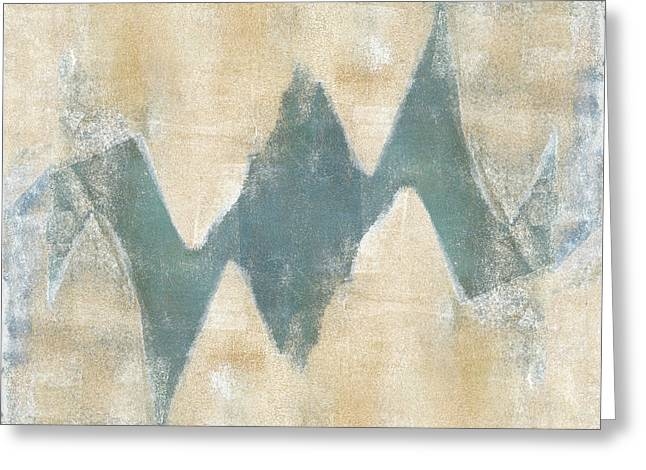 Monoprint Greeting Cards - Softly Green 2 Square Greeting Card by Carol Leigh