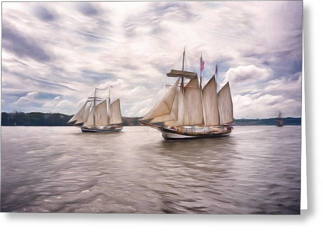 Tall Ships Mixed Media Greeting Cards - Softly Sailing Greeting Card by Georgiana Romanovna