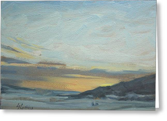 Gloaming Paintings Greeting Cards - Softly Setting   flathead valley sunset Greeting Card by Susan Gutting
