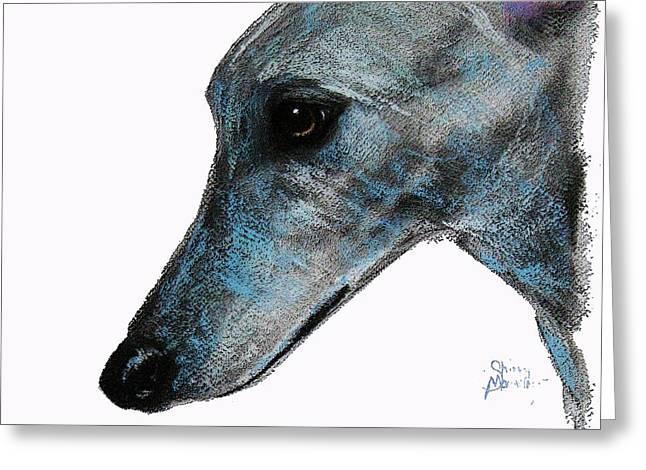 Greyhound Dog Pastels Greeting Cards - Softly Softly Greeting Card by Shirley MacArthur