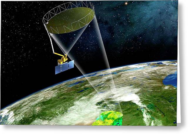 Soil Moisture Active Passive Satellite Greeting Card by Nasa/jpl-caltech