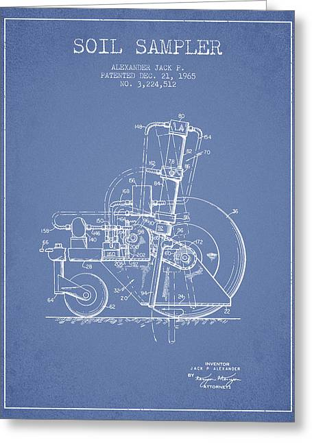 Bedroom Art Greeting Cards - Soil Sampler Machine patent from 1965 - Light Blue Greeting Card by Aged Pixel