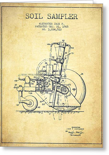 Old Tractors Greeting Cards - Soil Sampler Machine patent from 1965 - Vintage Greeting Card by Aged Pixel