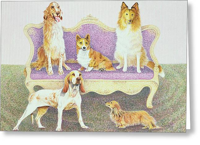 Collie Greeting Cards - Soiree In The Salon Greeting Card by Pat Scott