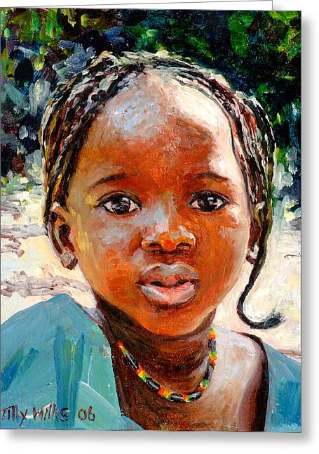 Childhood Art Greeting Cards - Sokoro Greeting Card by Tilly Willis