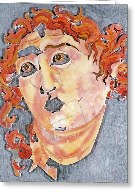 Face Reliefs Greeting Cards - Sol Invictus Greeting Card by Roman School
