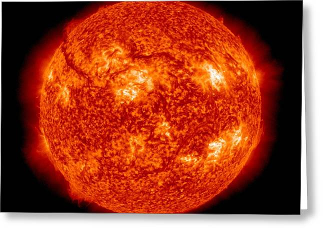 Ultraviolet Greeting Cards - Solar activity, SDO ultraviolet image Greeting Card by Science Photo Library