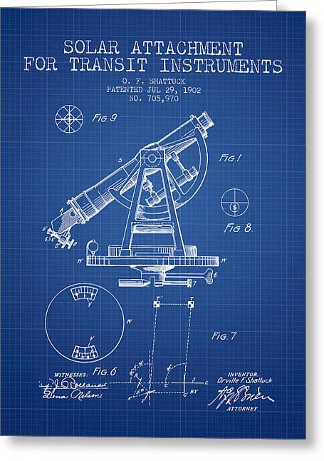 Land Surveyor Greeting Cards - Solar Attachement for Transit Instruments Patent from 1902 - Blu Greeting Card by Aged Pixel
