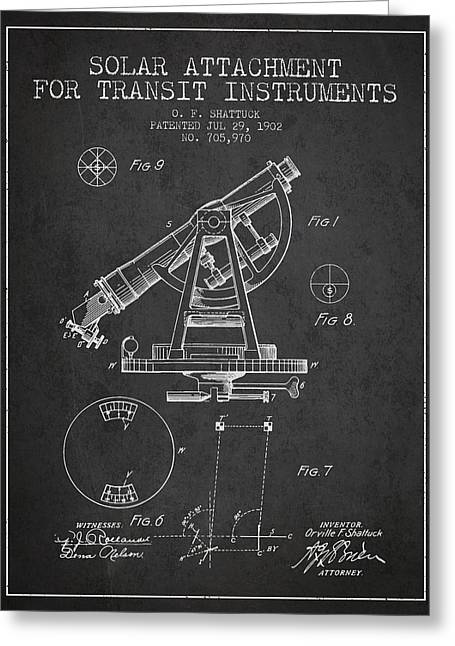 Land Surveyor Greeting Cards - Solar Attachement for Transit Instruments Patent from 1902 - Cha Greeting Card by Aged Pixel