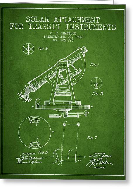 Land Surveyor Greeting Cards - Solar Attachement for Transit Instruments Patent from 1902 - Gre Greeting Card by Aged Pixel