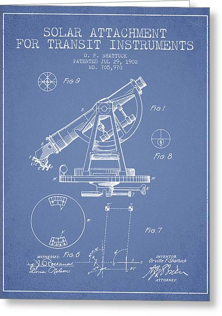 Land Surveyor Greeting Cards - Solar Attachement for Transit Instruments Patent from 1902 - Lig Greeting Card by Aged Pixel