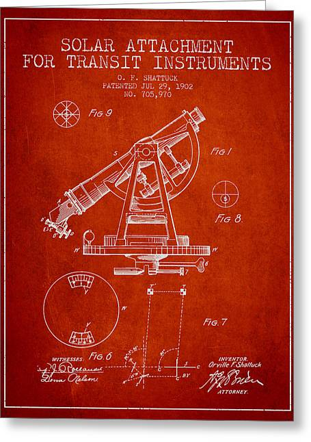Land Surveyor Greeting Cards - Solar Attachement for Transit Instruments Patent from 1902 - Red Greeting Card by Aged Pixel