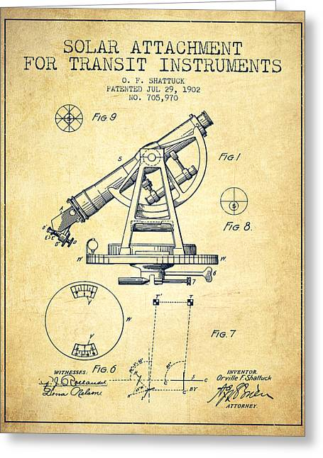 Land Surveyor Greeting Cards - Solar Attachement for Transit Instruments Patent from 1902 - Vin Greeting Card by Aged Pixel