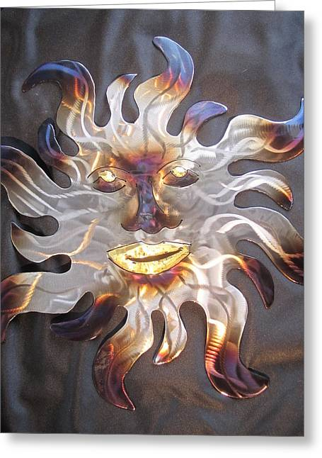 Winters Sculptures Greeting Cards - Solar Bronzed metal sculpture Greeting Card by Robert Blackwell