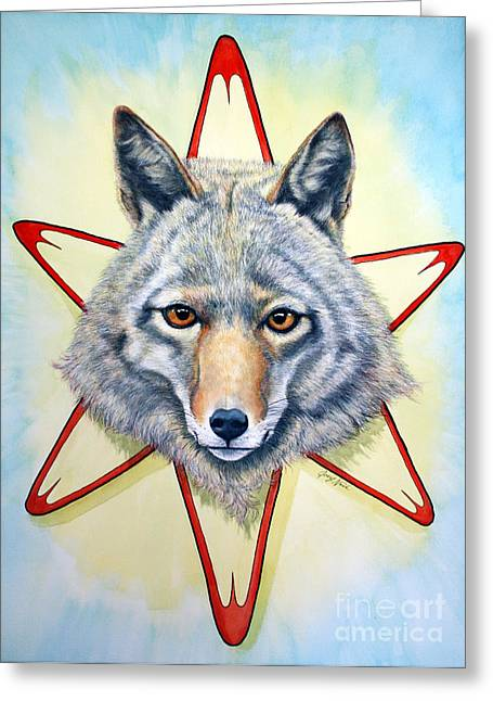 Visual Mixed Media Greeting Cards - Solar Coyote Greeting Card by Joey Nash