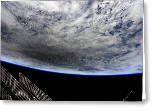 Planet Earth Greeting Cards - Solar eclipse, ISS image. Greeting Card by Science Photo Library