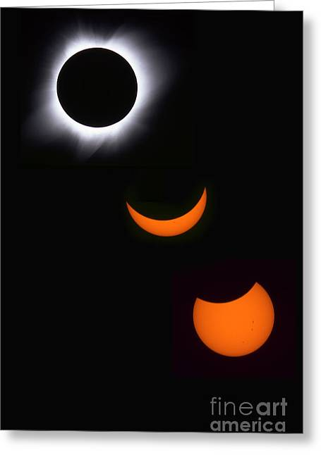 Solar Flare Greeting Cards - Solar Eclipse Sequence Greeting Card by Francois Gohier