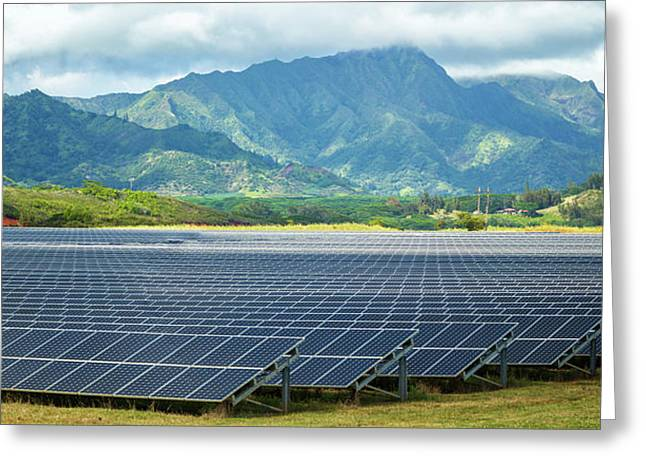 Solar Energy Panels On Field, Poipu Greeting Card by Panoramic Images