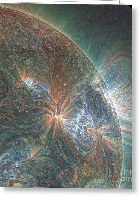 Ejection Greeting Cards - Solar Eruptions Greeting Card by Science Source