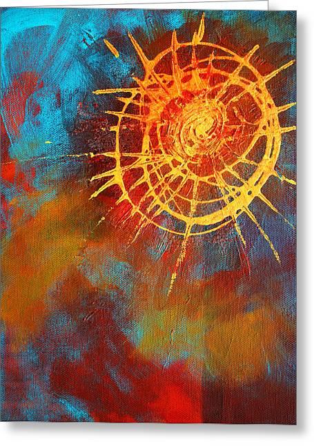 Burst Paintings Greeting Cards - Solar Greeting Card by Nancy Merkle