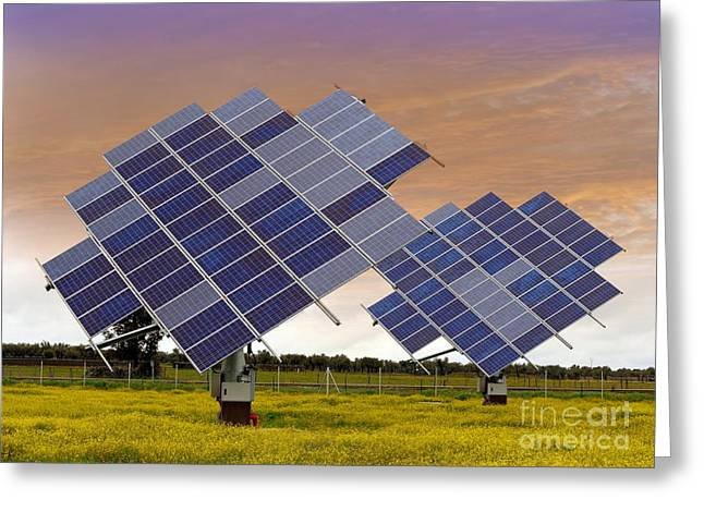 Solar Power Greeting Cards - Solar Panel Arrays On Tracking Bases Greeting Card by Tony Craddock