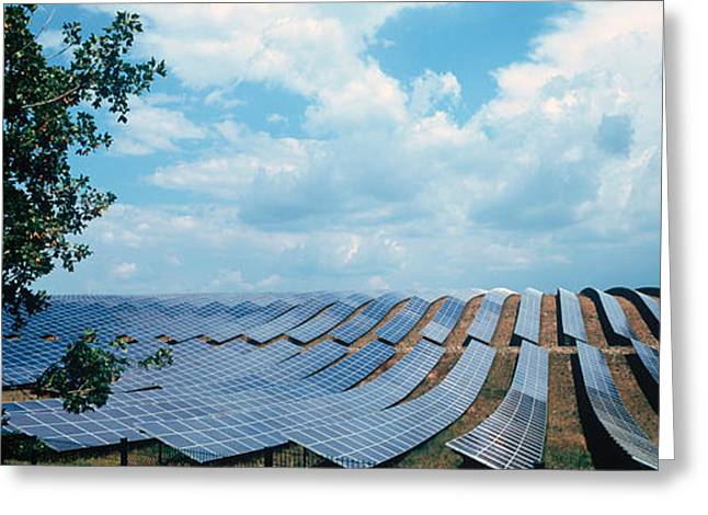Alternative Photography Greeting Cards - Solar Panels In A Farm Greeting Card by Panoramic Images