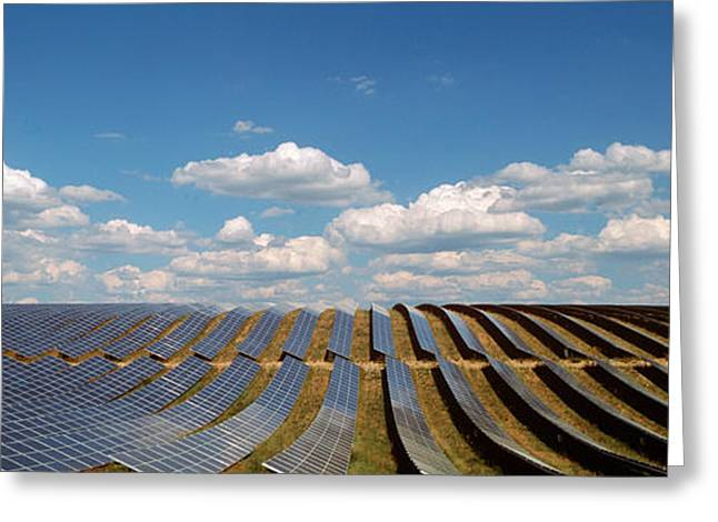 Alternative Energy Greeting Cards - Solar Panels In A Field Greeting Card by Panoramic Images
