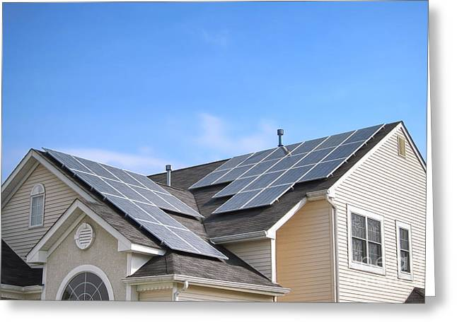 House Gable Greeting Cards - Solar Panels  Greeting Card by Olivier Le Queinec