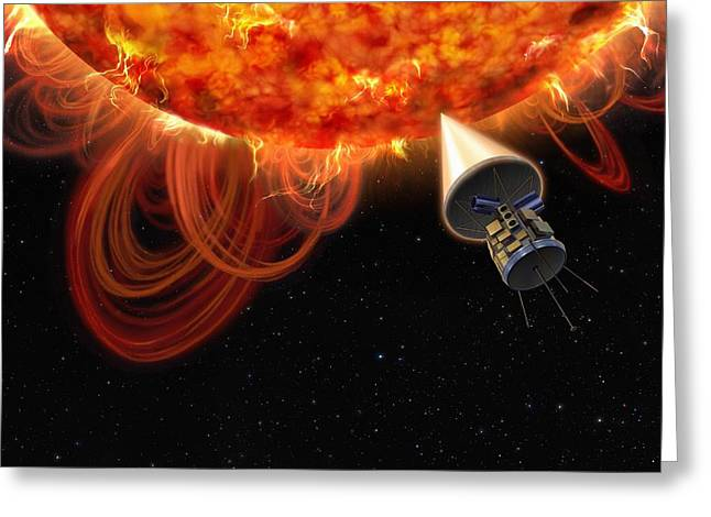 Solar Probe At The Sun, Artwork Greeting Card by Science Photo Library