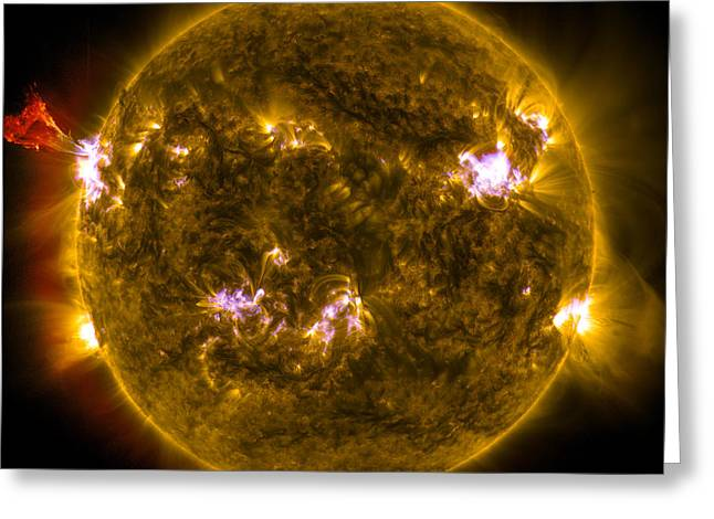 Ejection Greeting Cards - Solar Prominence Eruption Greeting Card by Science Source