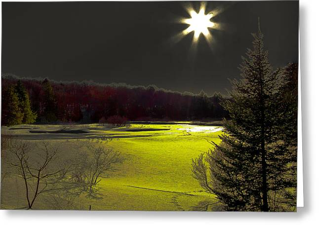 Snow Scene Landscape Greeting Cards - Solar Reflections on the Frozen Moose River Greeting Card by David Patterson