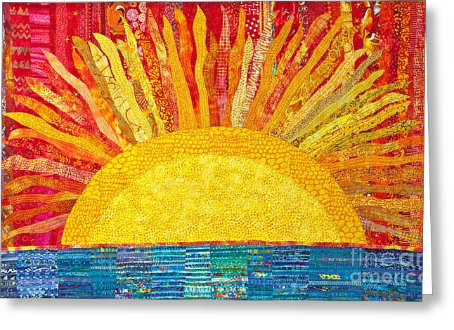 Sunset Abstract Tapestries - Textiles Greeting Cards - Solar Rhythms Greeting Card by Susan Rienzo