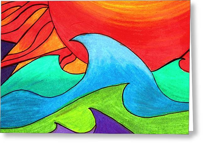 Summer Storm Drawings Greeting Cards - Solar Storm Over Choppy Waves Greeting Card by Geree McDermott